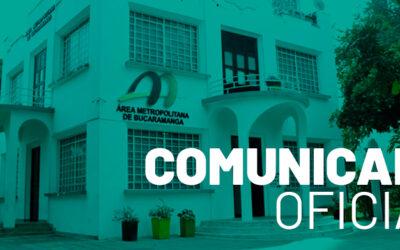 Comunicado oficial: Área Metropolitana de Bucaramanga tiene nuevo Director (e)