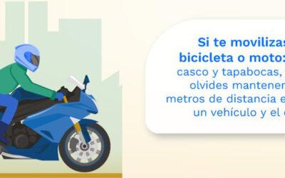 Si se moviliza en motocicleta, recuerde que debe usar casco y tapabocas