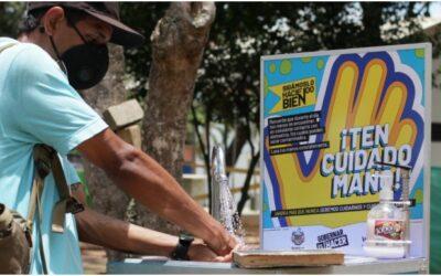 Cinco parques de Bucaramanga cuentan ahora con lavamanos portátiles para mitigar los contagios por Covid-19
